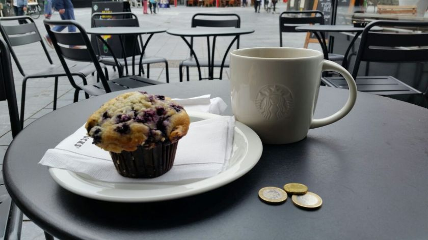 Coffee with a blueberry muffin...my favorite treat