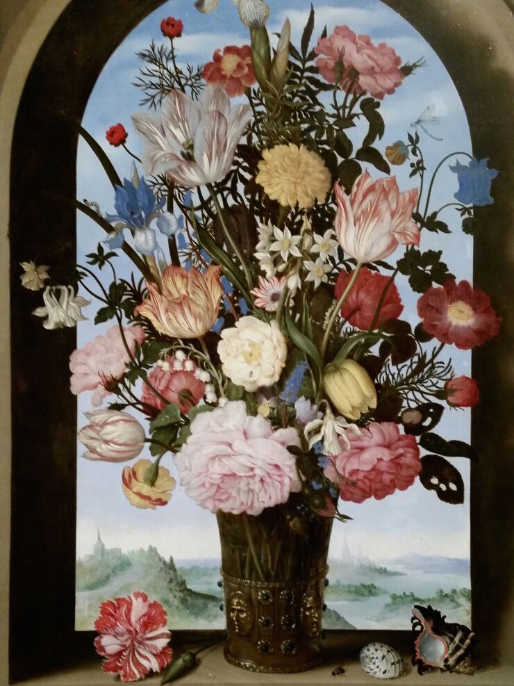 Roelant Savery 1576-1639 Vace of Flowers in a Stone Niche 1615 CROPPED